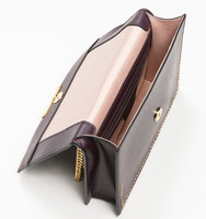 Mara cocktail bag pin stud plum interior