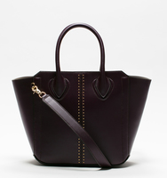 Tribecca satchel pin stud plum bag front
