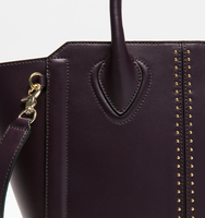 Tribeca satchel pin stud plum handbag close