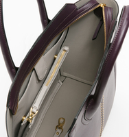 Tribeca satchel pin stud plum handbag interior