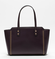 Soho top zip shopper plum pin stud