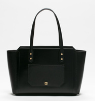 Soho top zip shopper bag black back