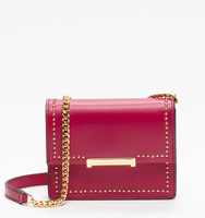 Mara mini shoulder bag cherise pin stud front