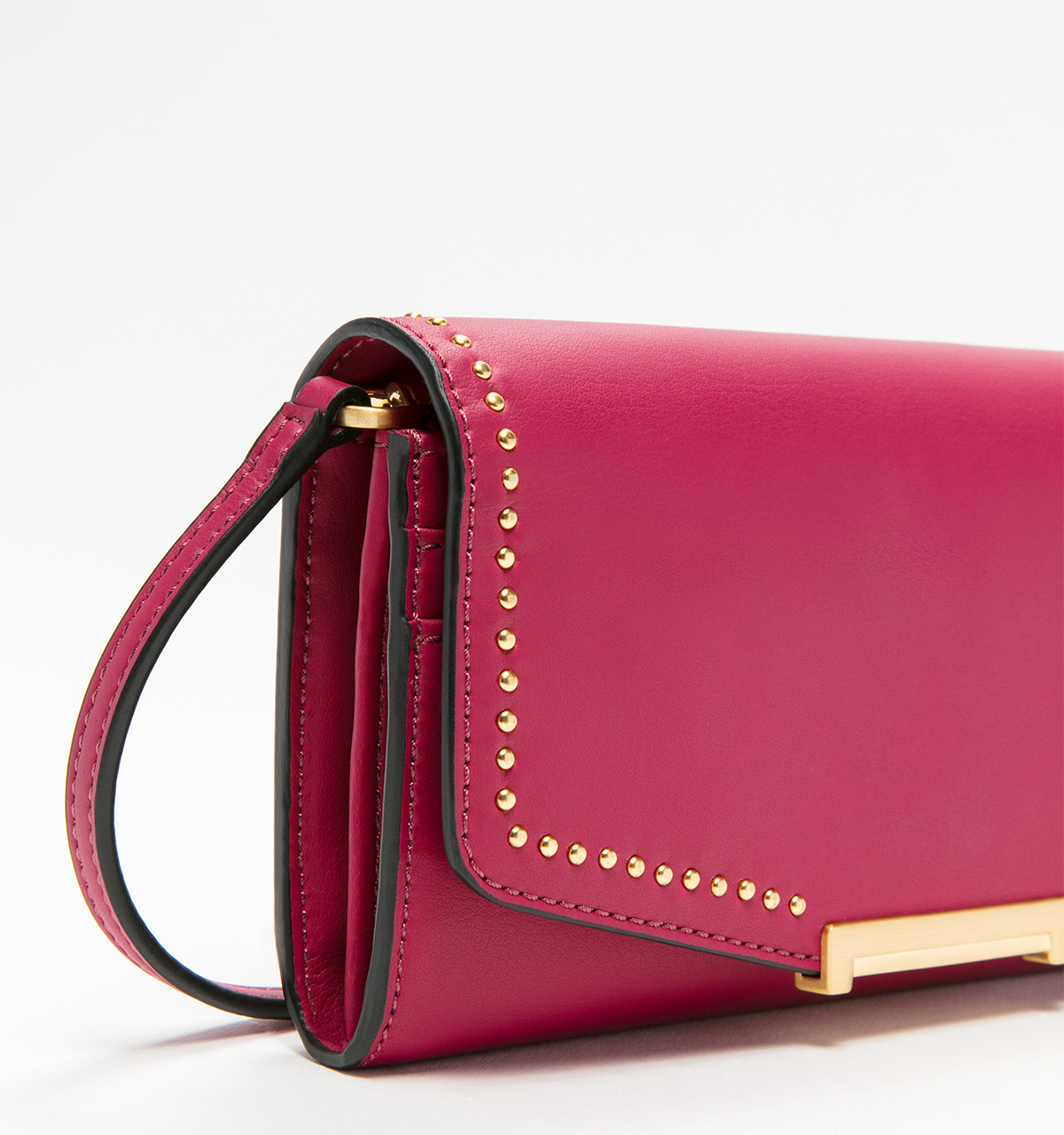 Mara crossbody wallet pin stud cerise close