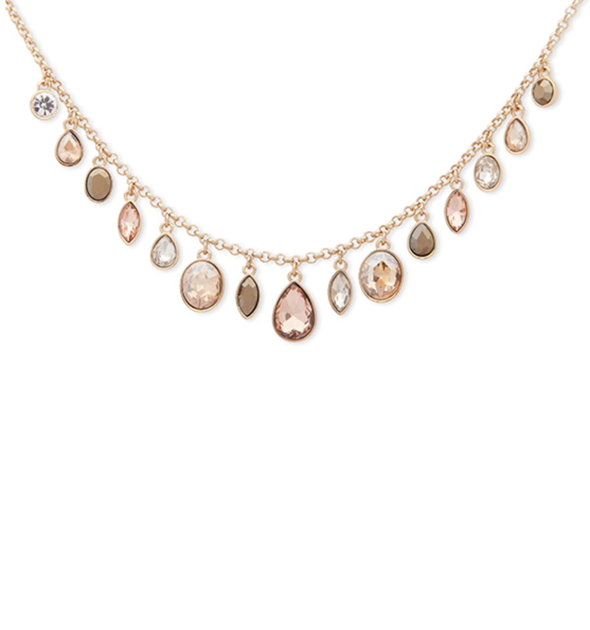 Multi stone frontal necklace