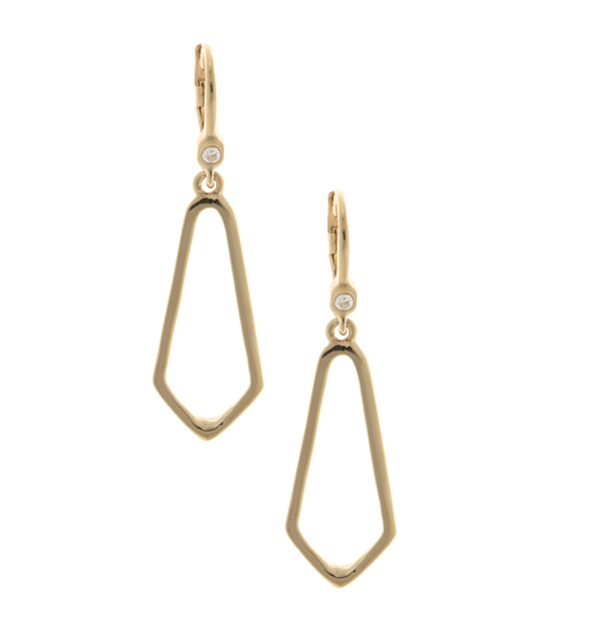 Open drop earrings   gold