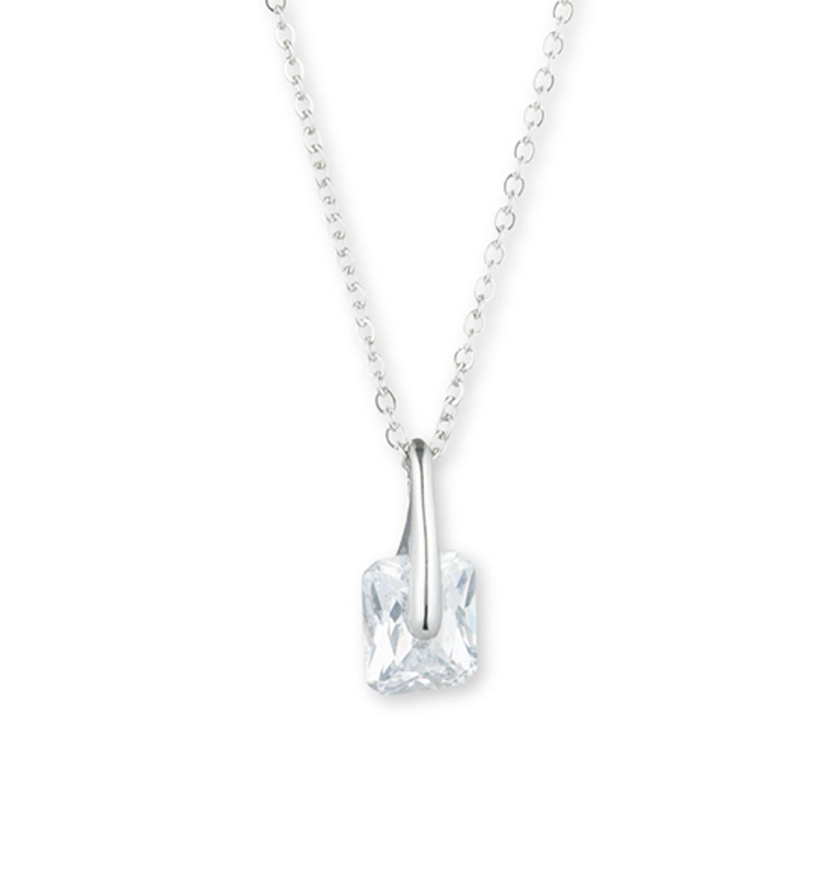 Stone pendant necklace   silver