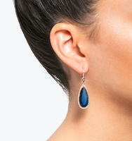 Teardrop silhouette earrings blue