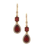 Three in one drop earrings red