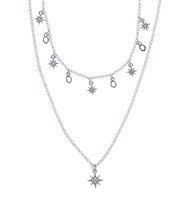 Two in one star necklace silver