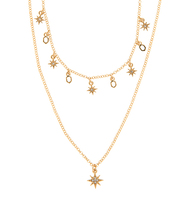 Two in one star necklace gold