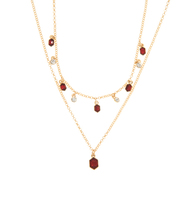 Two in one stone necklace red