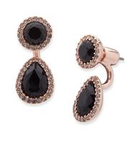 Two way floater earrings black