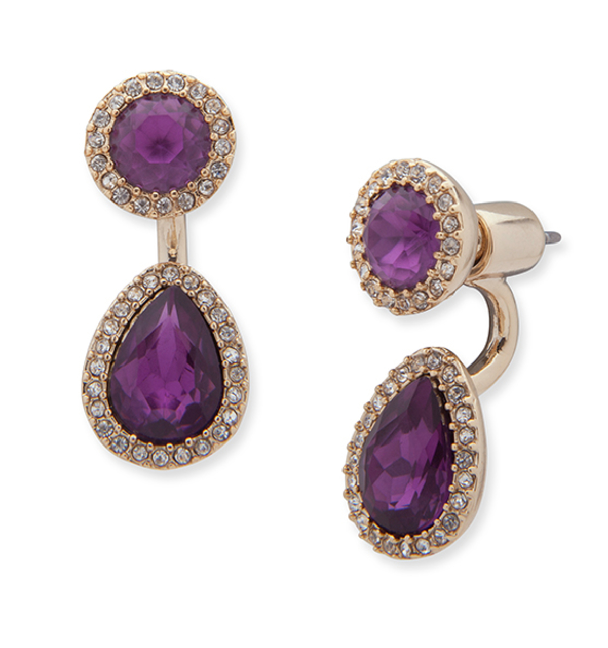 Two way floater earrings   purple