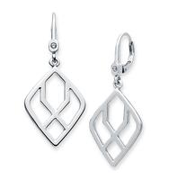 Geometric drop earrings   silver