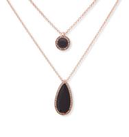 Double pendant necklace black 2