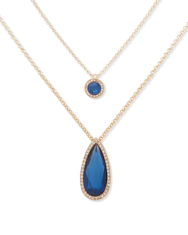 Double pendant necklace blue 5