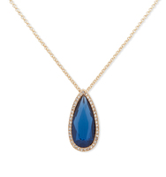 Double pendant necklace blue 3
