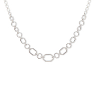 Frontal chain link necklace   silver