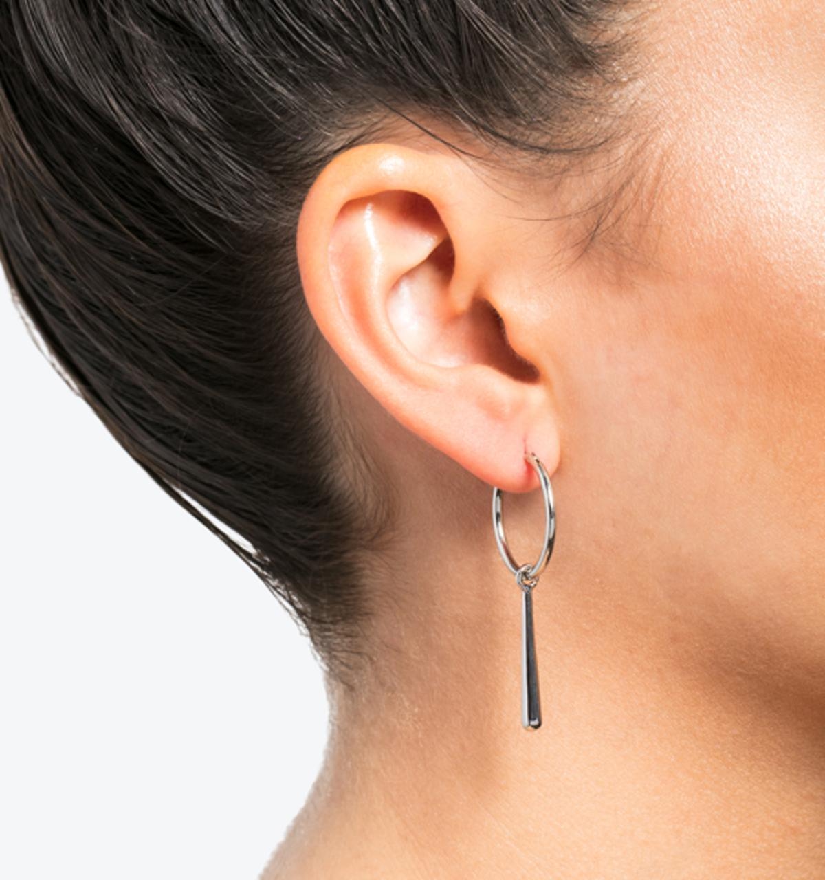 Drop hoop earrings silver