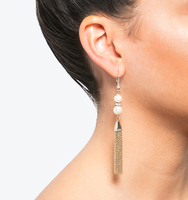 Linear tassel earrings