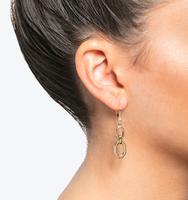 Open double drop earrings gold