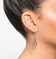 Open double drop earrings silver