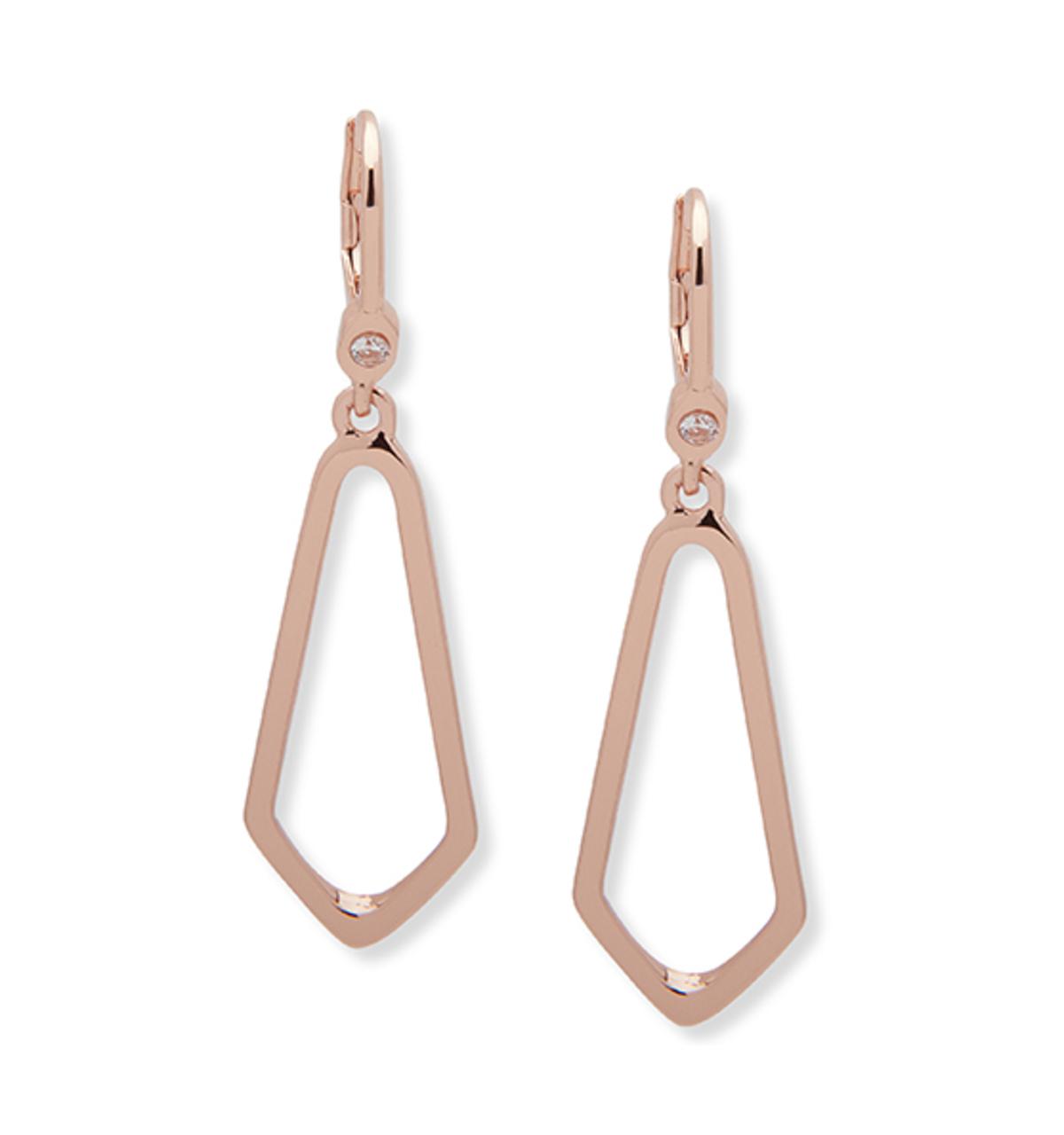 Rose gold open drop 4 sided earring