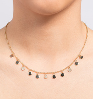 Wise words v day adjustable gold frontal necklace