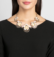 Spring adjustable drama frontal necklace