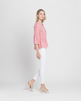 Striped ruffle blouse red ivory side ivanka trump