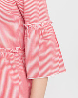 Striped ruffle blouse red ivory detail ivanka trump