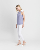 Sleeveless blouse with bow detail blue ivory side ivanka trump