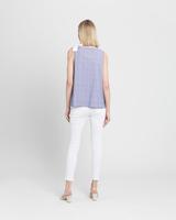 Sleeveless blouse with bow detail blue ivory back ivanka trump