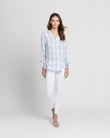 Relaxed gingham shirt blue front ivanka trump