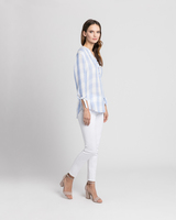 Relaxed gingham shirt blue side ivanka trump