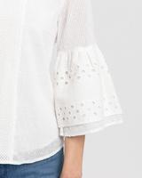 Eyelet trim blouse white detail ivanka trump