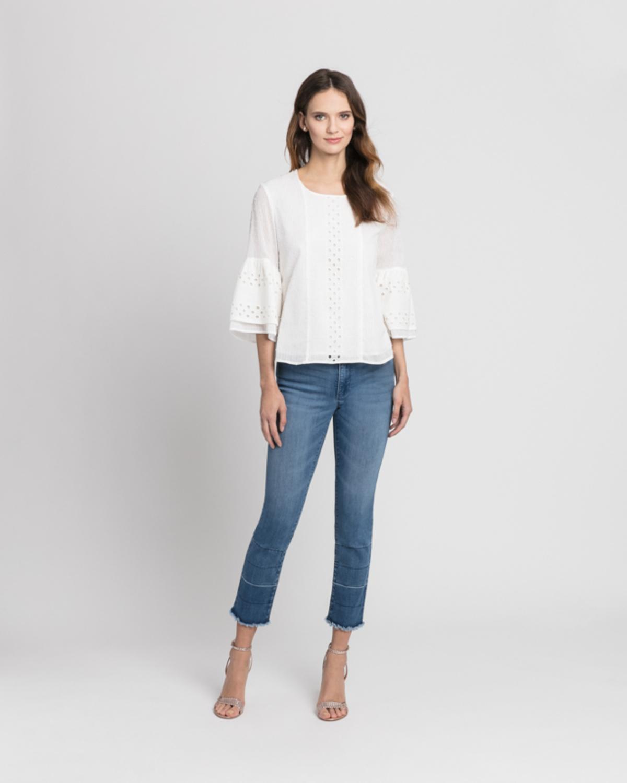 Eyelet trim blouse white front ivanka trump