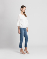 Eyelet trim blouse white side ivanka trump