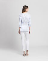 Gingham wrap blouse blue back ivanka trump