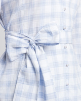 Gingham wrap blouse blue detail ivanka trump