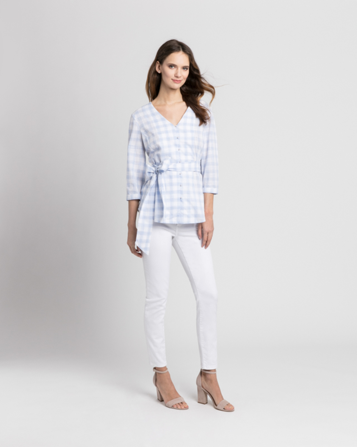 Gingham wrap blouse blue front ivanka trump
