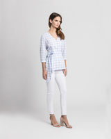 Gingham wrap blouse blue side ivanka trump