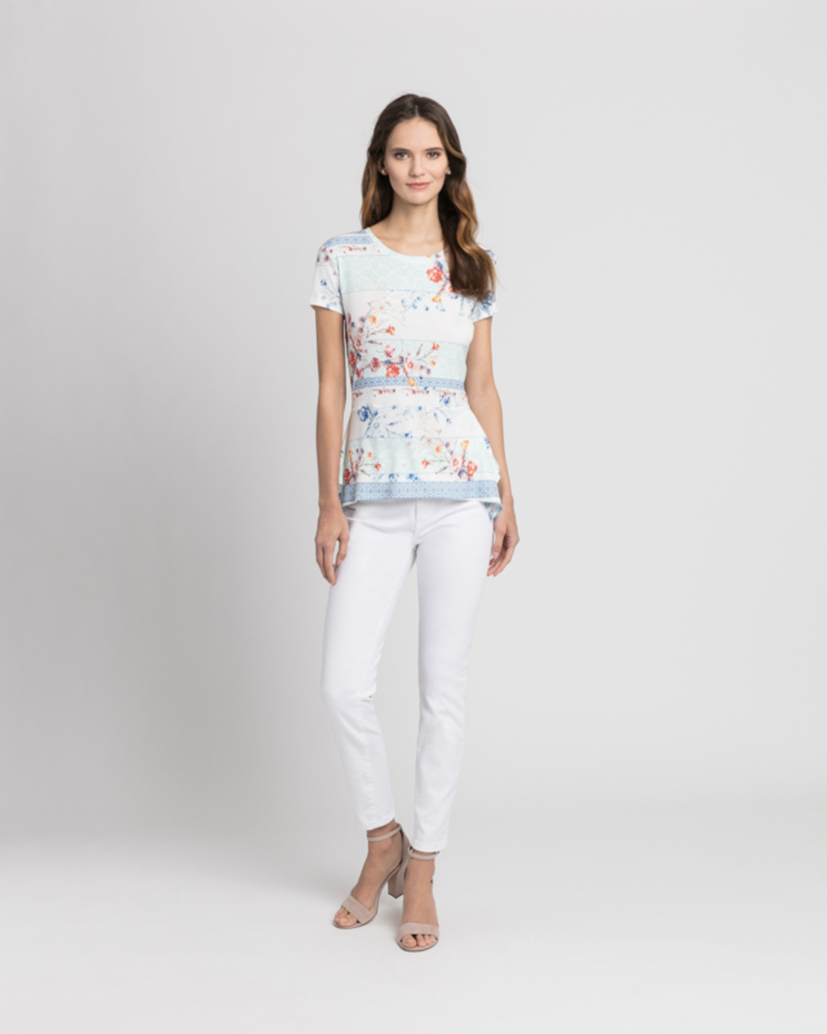 Tile inspired floral tee multicolor front ivanka trump