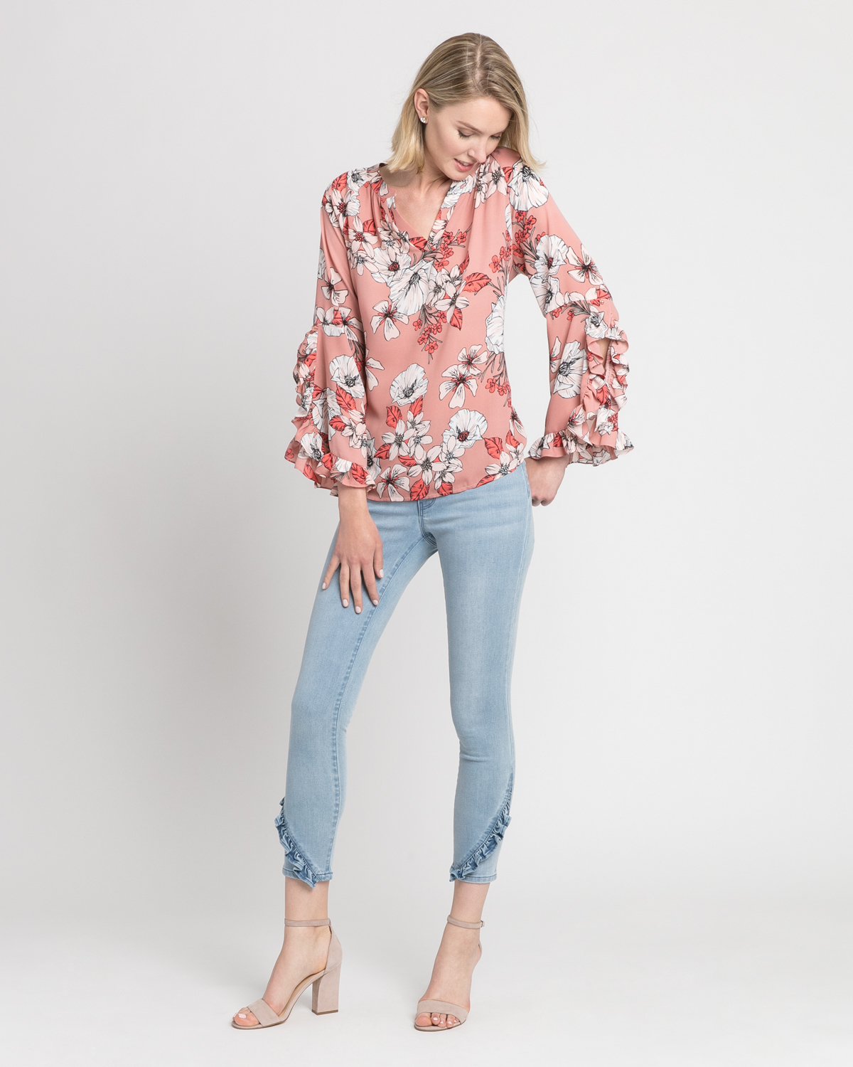 Ruffle sleeve floral top blush front ivanka trump
